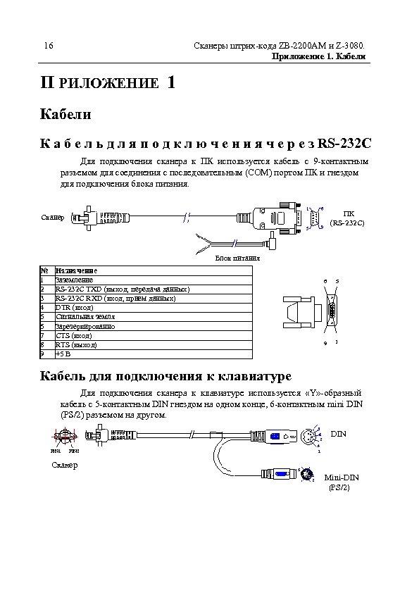 16 Сканеры штрих-кода ZB-2200 AM и Z-3080. Приложение 1. Кабели П РИЛОЖЕНИЕ 1 Кабели