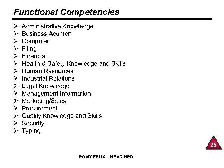 Functional Competencies Ø Ø Ø Ø Administrative Knowledge Business Acumen Computer Filing Financial Health