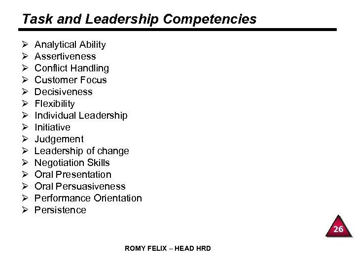 Task and Leadership Competencies Ø Ø Ø Ø Analytical Ability Assertiveness Conflict Handling Customer