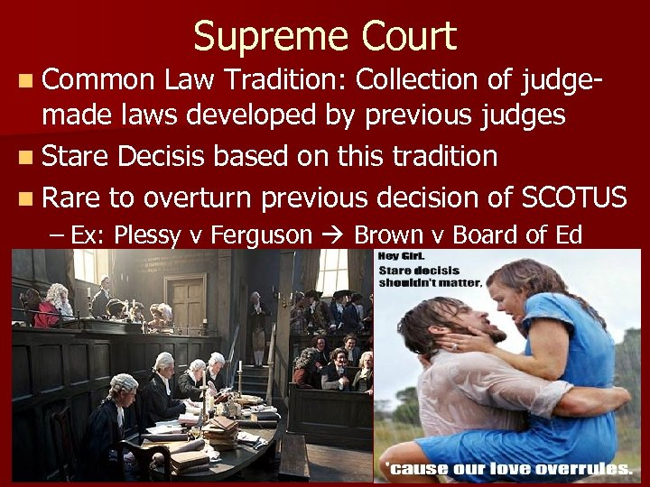 Supreme Court n Common Law Tradition: Collection of judge- made laws developed by previous