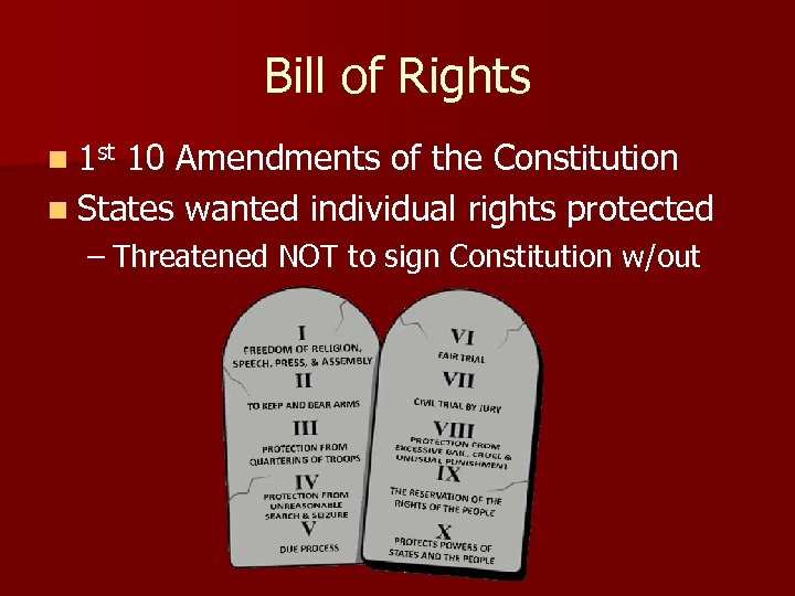 Bill of Rights n 1 st 10 Amendments of the Constitution n States wanted