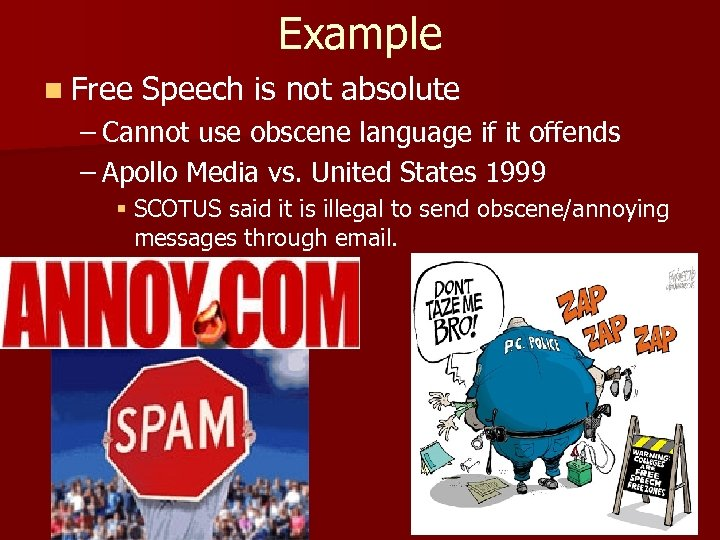 Example n Free Speech is not absolute – Cannot use obscene language if it