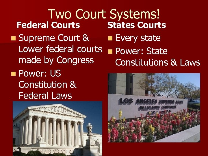 Two Court Systems! Federal Courts n Supreme Court & States Courts n Every state
