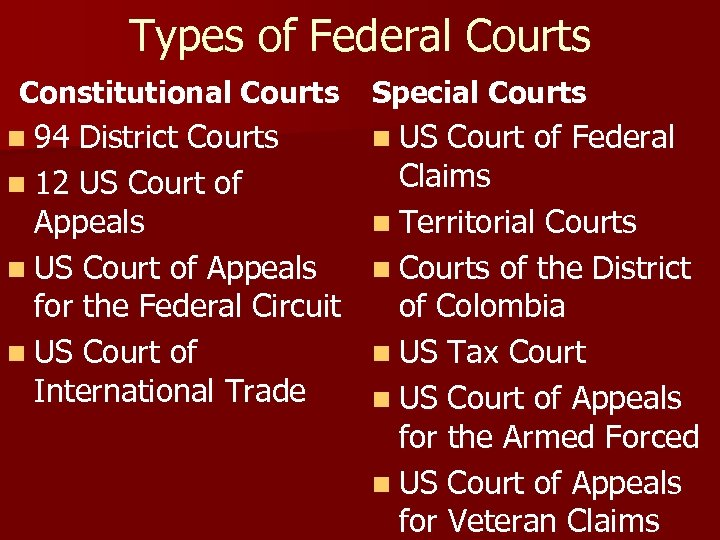 Types of Federal Courts Constitutional Courts n 94 District Courts Special Courts n US