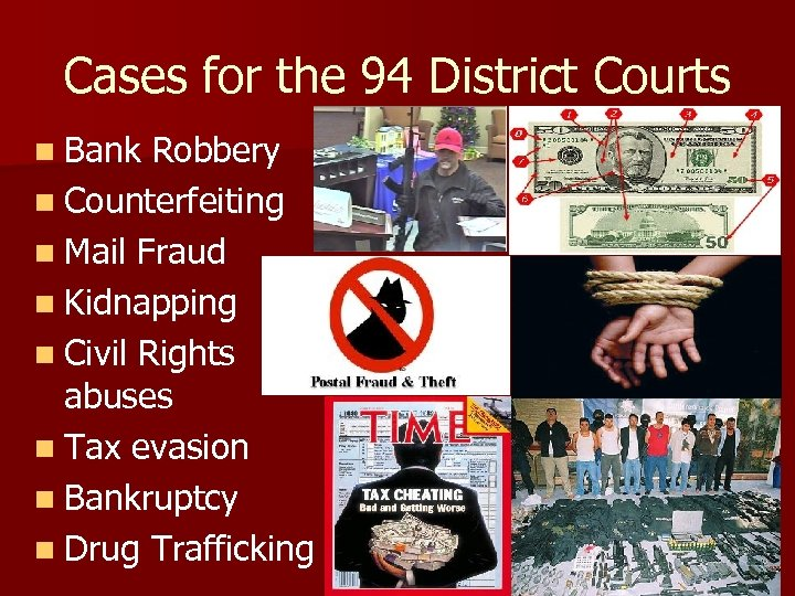 Cases for the 94 District Courts n Bank Robbery n Counterfeiting n Mail Fraud