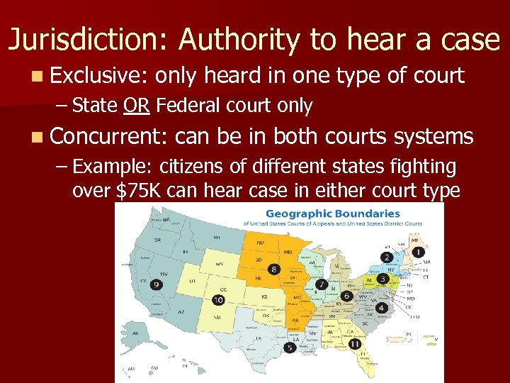 Jurisdiction: Authority to hear a case n Exclusive: only heard in one type of