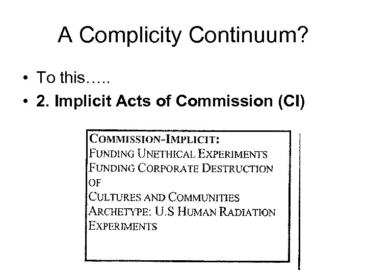 A Complicity Continuum? • To this…. . • 2. Implicit Acts of Commission (CI)