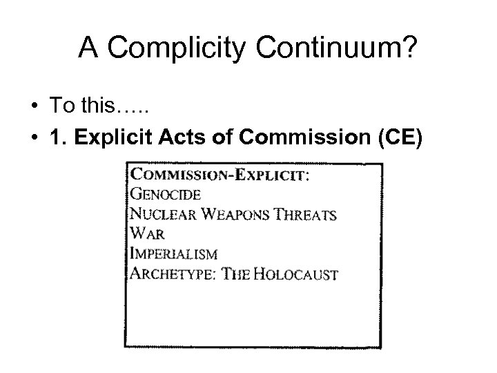 A Complicity Continuum? • To this…. . • 1. Explicit Acts of Commission (CE)