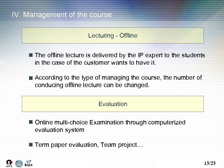 IV. Management of the course Lecturing - Offline The offline lecture is delivered by
