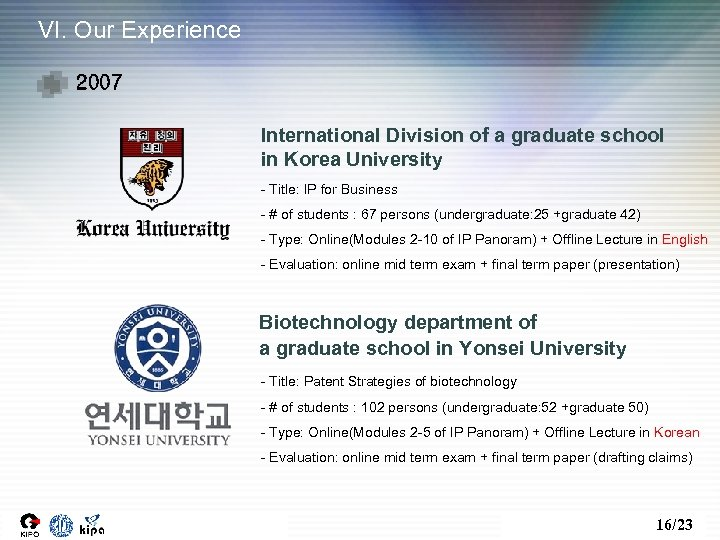 VI. Our Experience 2007 International Division of a graduate school in Korea University -