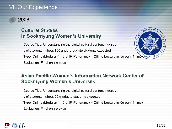 VI. Our Experience 2008 Cultural Studies in Sookmyung Women's University - Course Title: Understanding