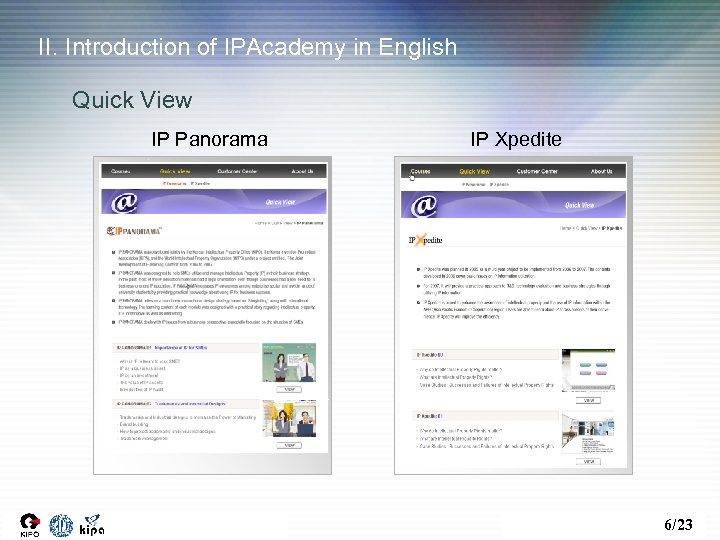 II. Introduction of IPAcademy in English Quick View IP Panorama IP Xpedite 6/23