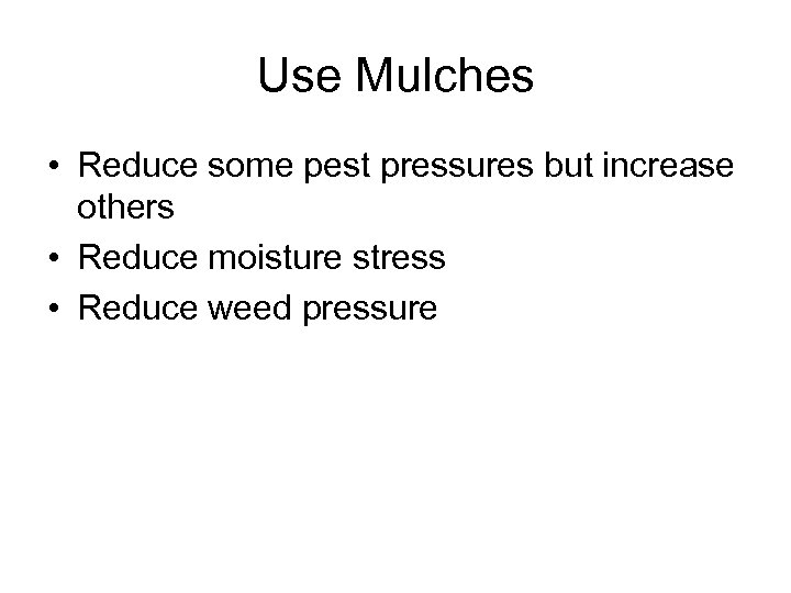 Use Mulches • Reduce some pest pressures but increase others • Reduce moisture stress