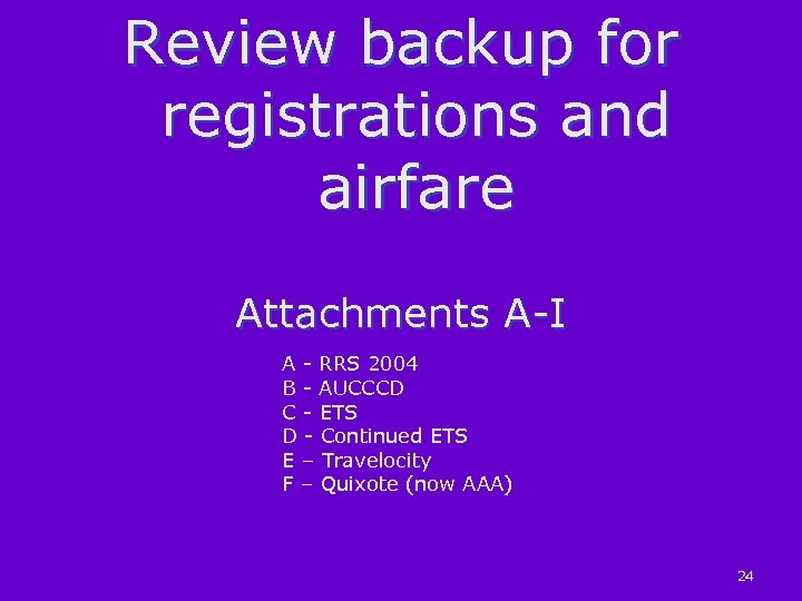 Review backup for registrations and airfare Attachments A-I A - RRS 2004 B -