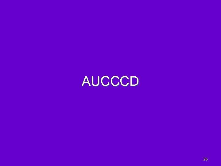 AUCCCD 26