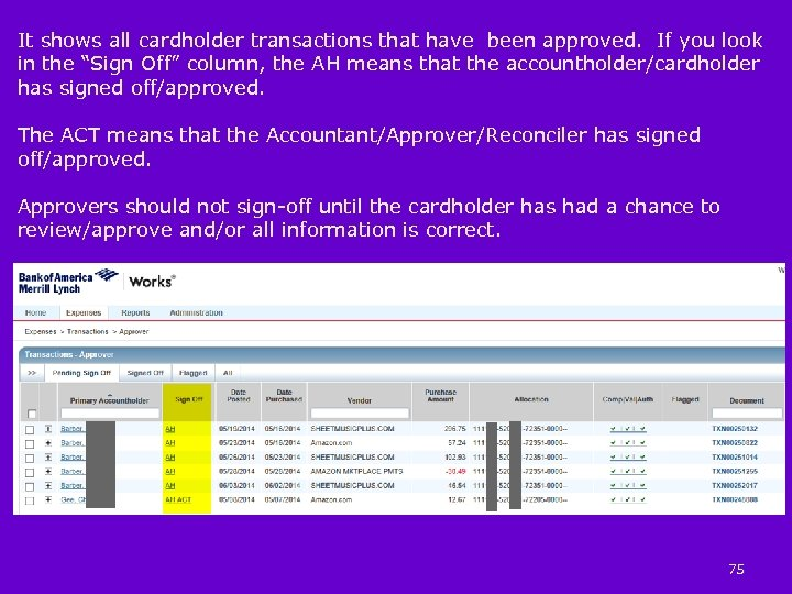 It shows all cardholder transactions that have been approved. If you look in the