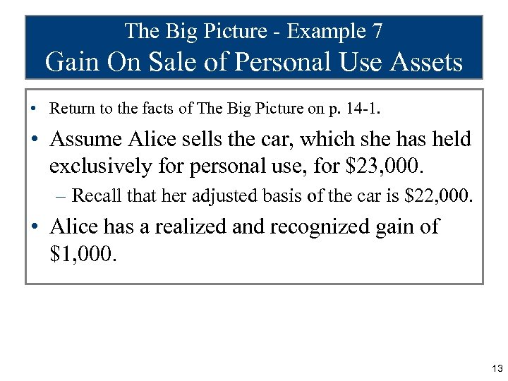 The Big Picture - Example 7 Gain On Sale of Personal Use Assets •