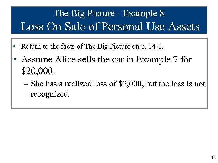 The Big Picture - Example 8 Loss On Sale of Personal Use Assets •