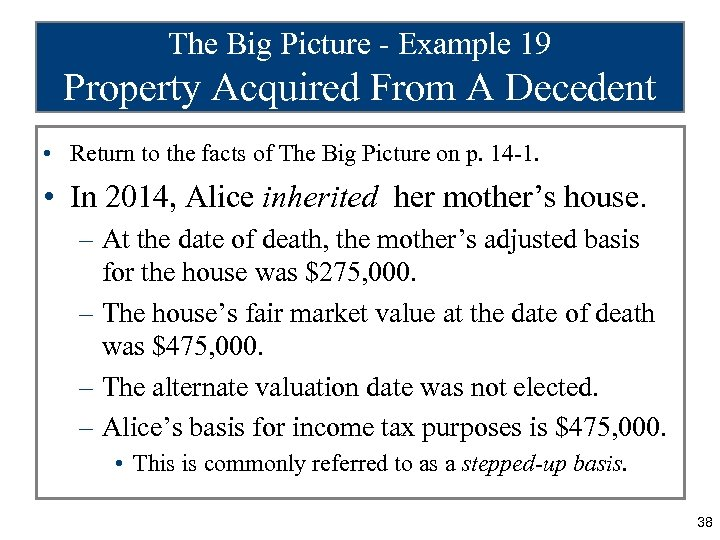 The Big Picture - Example 19 Property Acquired From A Decedent • Return to