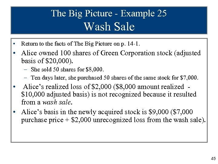 The Big Picture - Example 25 Wash Sale • Return to the facts of