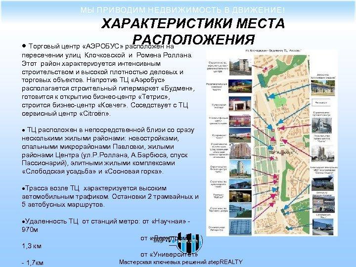 ХАРАКТЕРИСТИКИ МЕСТА РАСПОЛОЖЕНИЯ · Торговый центр «АЭРОБУС» расположен на пересечении улиц Клочковской и Ромена