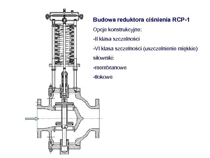 Budowa reduktora ciśnienia RCP-1 Opcje konstrukcyjne: -II klasa szczelności -VI klasa szczelności (uszczelnienie miękkie)