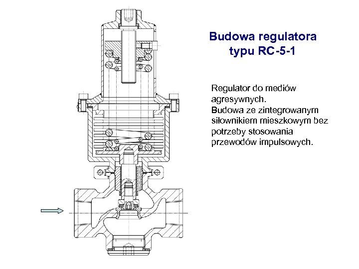 Budowa regulatora typu RC-5 -1 Regulator do mediów agresywnych. Budowa ze zintegrowanym siłownikiem mieszkowym