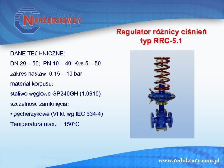 Regulator różnicy ciśnień typ RRC-5. 1 DANE TECHNICZNE: DN 20 – 50; PN 10
