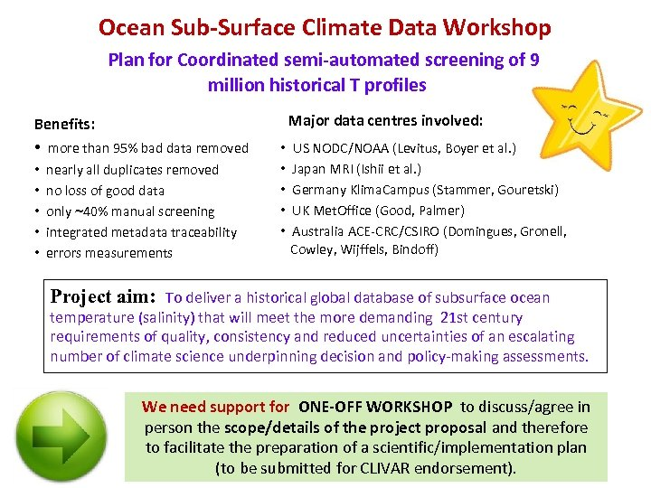 Ocean Sub-Surface Climate Data Workshop Plan for Coordinated semi-automated screening of 9 million historical