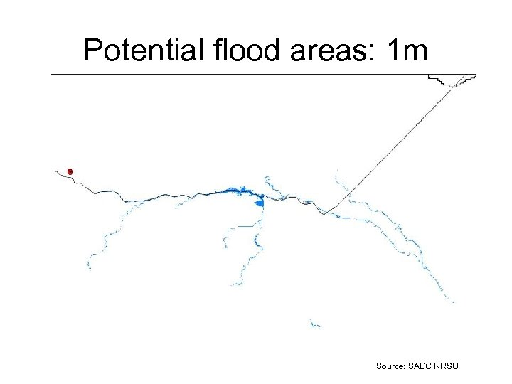 Potential flood areas: 1 m Source: SADC RRSU
