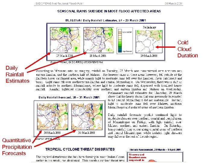 Cold Cloud Duration Daily Rainfall Estimates Quantitative Precipitation Forecasts