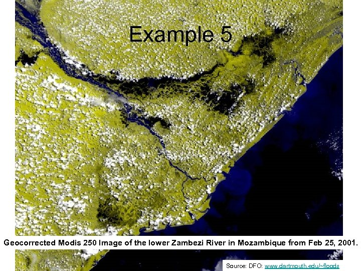 Example 5 Geocorrected Modis 250 Image of the lower Zambezi River in Mozambique from