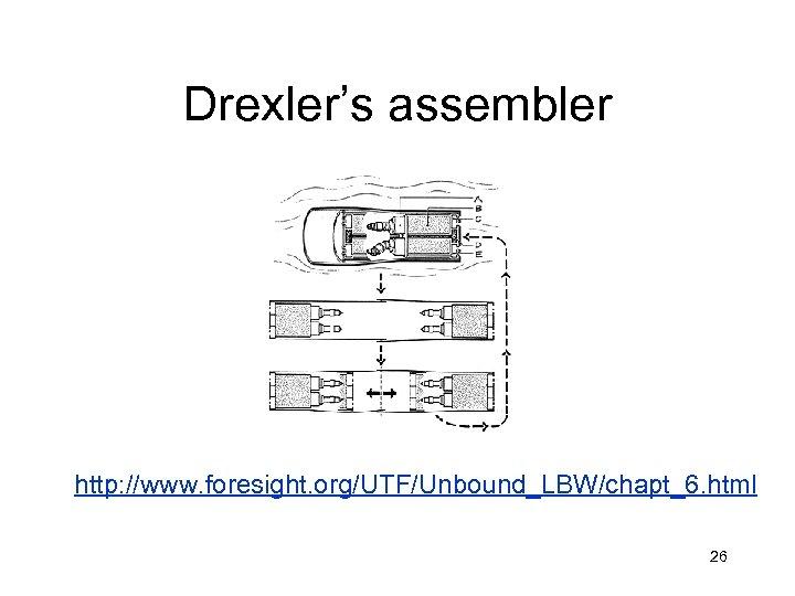 Drexler's assembler http: //www. foresight. org/UTF/Unbound_LBW/chapt_6. html 26