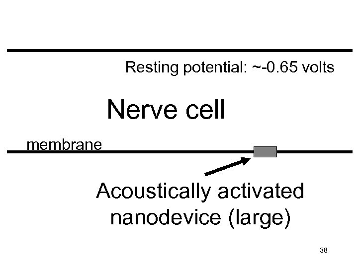 Resting potential: ~-0. 65 volts Nerve cell membrane Acoustically activated nanodevice (large) 38