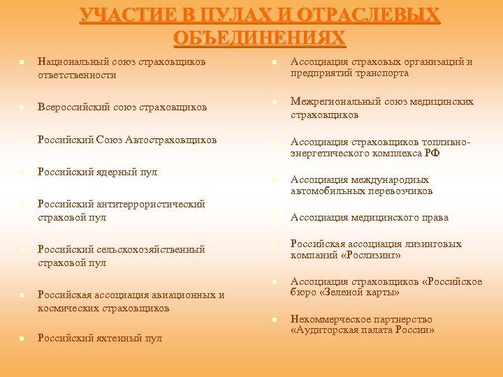 УЧАСТИЕ В ПУЛАХ И ОТРАСЛЕВЫХ ОБЪЕДИНЕНИЯХ n Национальный союз страховщиков ответственности n Всероссийский союз