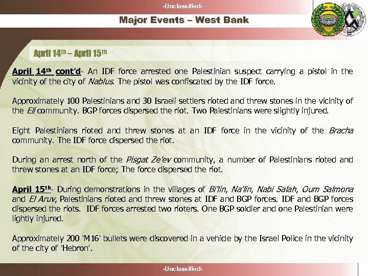 -Unclassified- Major Events – West Bank April 14 th – April 15 th April