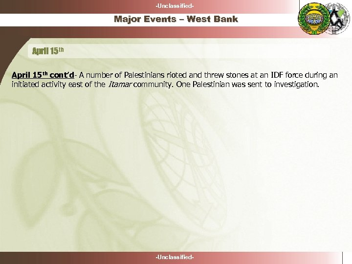-Unclassified- Major Events – West Bank April 15 th cont'd- A number of Palestinians