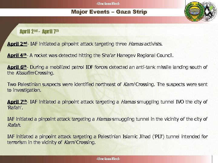-Unclassified- Major Events – Gaza Strip April 2 nd - April 7 th April