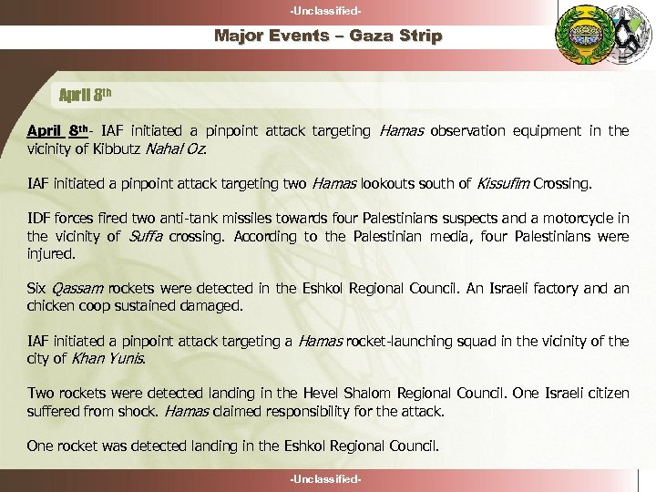 -Unclassified- Major Events – Gaza Strip April 8 th- IAF initiated a pinpoint attack