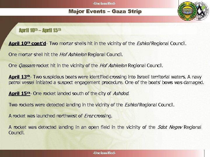 -Unclassified- Major Events – Gaza Strip April 10 th – April 15 th April