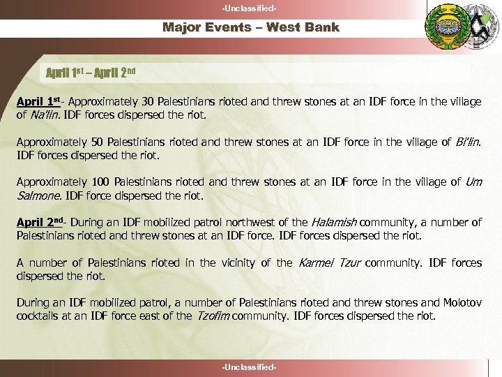 -Unclassified- Major Events – West Bank April 1 st – April 2 nd April