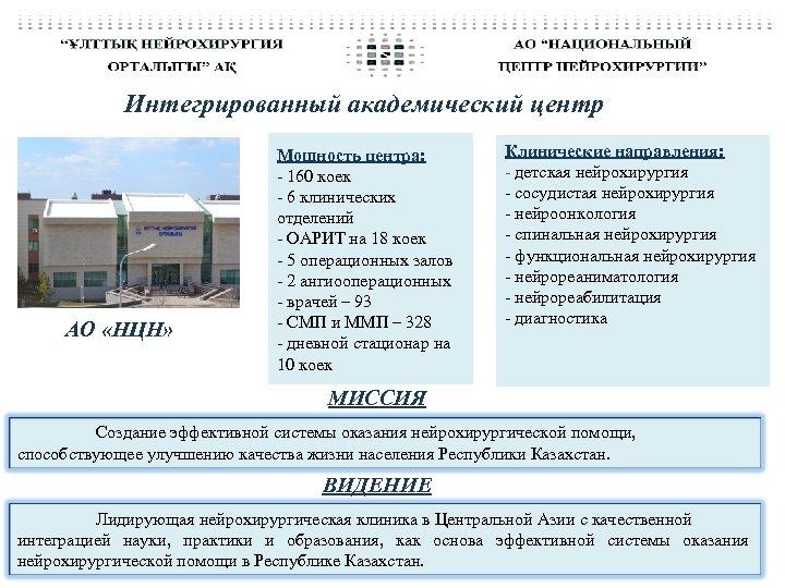 Интегрированный академический центр АО «НЦН» Мощность центра: - 160 коек - 6 клинических отделений