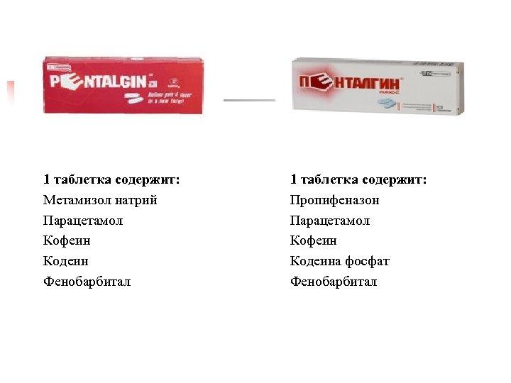 1 таблетка содержит: Метамизол натрий Парацетамол Кофеин Кодеин Фенобарбитал 1 таблетка содержит: Пропифеназон Парацетамол