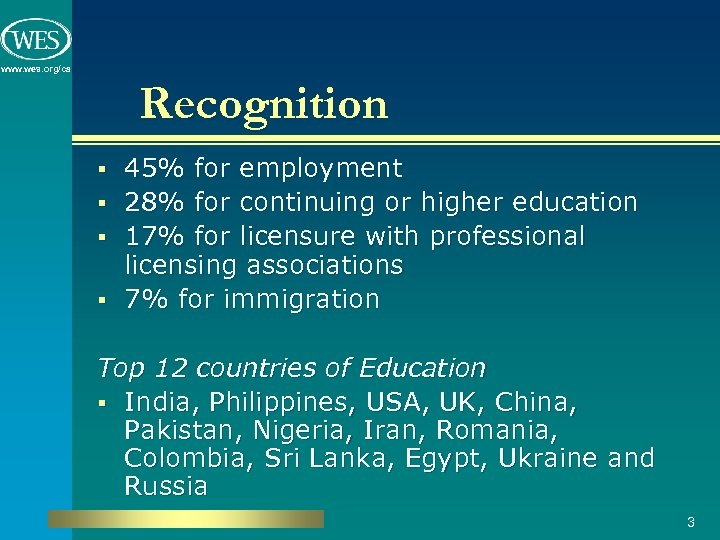 www. wes. org/ca Recognition § § 45% for employment 28% for continuing or higher