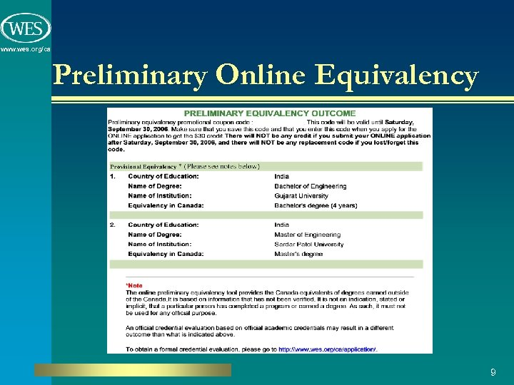 www. wes. org/ca Preliminary Online Equivalency 9