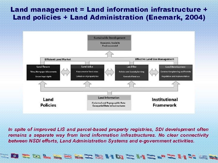 Land management = Land information infrastructure + Land policies + Land Administration (Enemark, 2004)