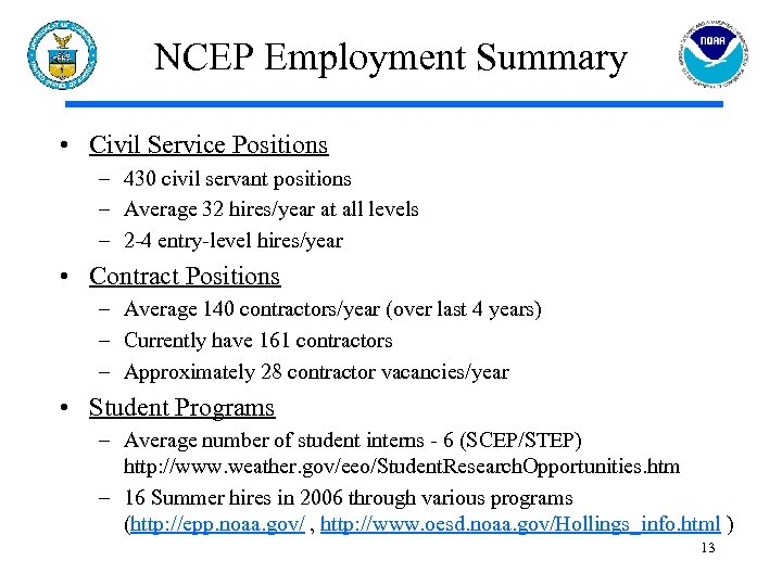 NCEP Employment Summary • Civil Service Positions – 430 civil servant positions – Average