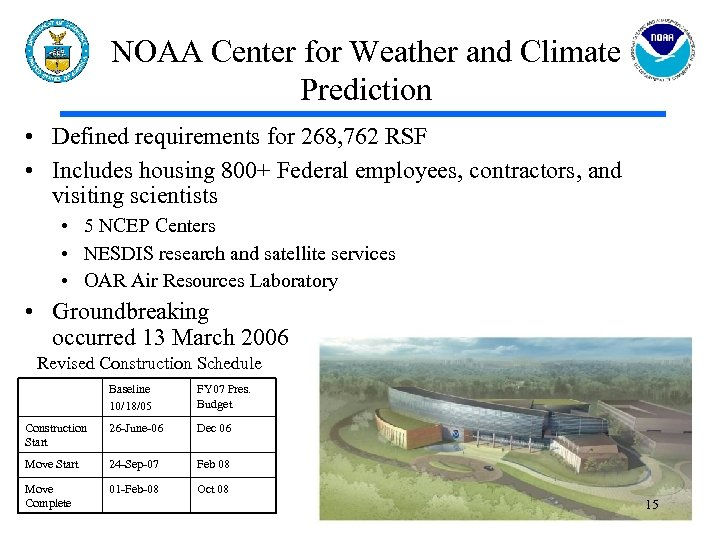 NOAA Center for Weather and Climate Prediction • Defined requirements for 268, 762 RSF