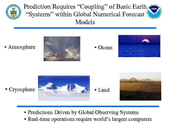 "Prediction Requires ""Coupling"" of Basic Earth ""Systems"" within Global Numerical Forecast Models • Atmosphere"