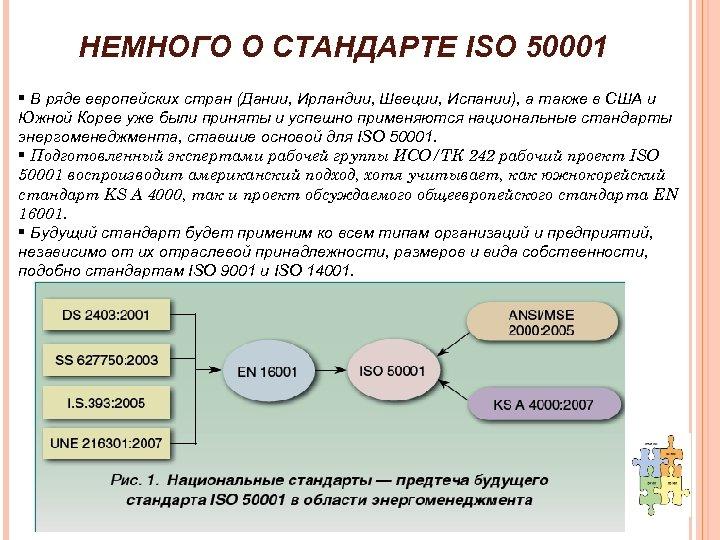 НЕМНОГО О СТАНДАРТЕ ISO 50001 § В ряде европейских стран (Дании, Ирландии, Швеции, Испании),